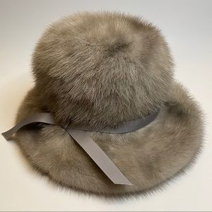 Gorgeous Vintage  Fur Hat with Lace Lining